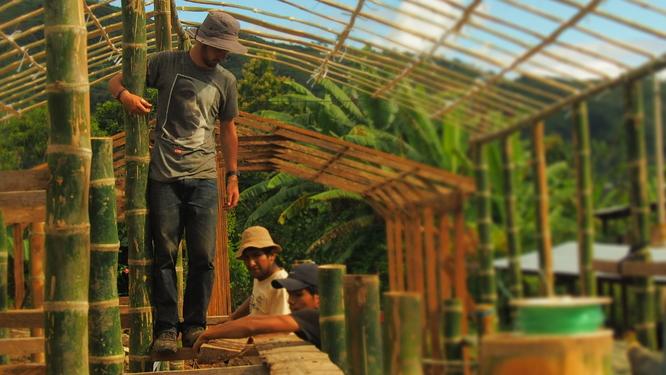 Félix participe à la construction d'un sécheur solaire pour améliorer le séchage des grains de café - Pérou