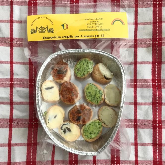 Assiette de 12 escargots en croquille 4 saveurs