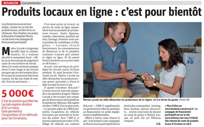 b9ec681b8480c Bel article paru dans L Est Républicain Besançon ! - MiiMOSA