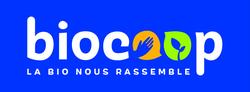 Logo biocoop signature quadri fond bleu